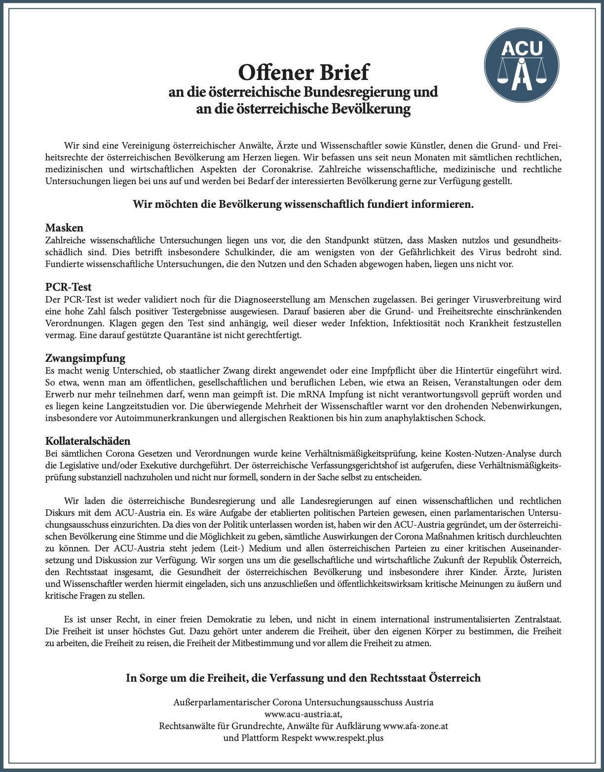 Offener Brief ACU-Austria Januar 21